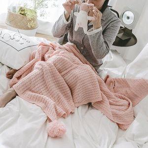 LYNGY Rose American Style coton tricoté Throw Blanket avec la boule Casual style nordique Bed Runner Sofa plaids Couvre-lit 6oRi #