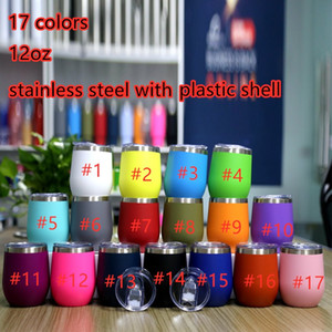12oz Wine Tumbler Powder Coated Coffee Mugs Beer Glass Water Bottle 2 Layer Vacuum Insulated Beer Mug Party Champagne Mugs with Lid
