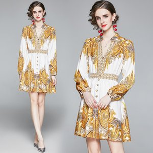2020 Fashion Runway Dress Women High Quality Long sleeve Luxury Print Vintage Party mini Dress