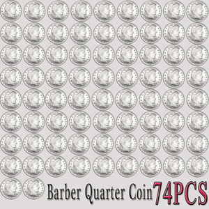 74pcs USA Barber Quarter Copy Coins 1892-1916 P-S-D-O 24mm Bright Coins Collection