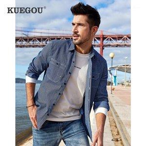 Kuegou 2020 homens denim camisa primavera sul coreano estilo edição moda lazer listra manga longa camisas topo plus size bc-61161