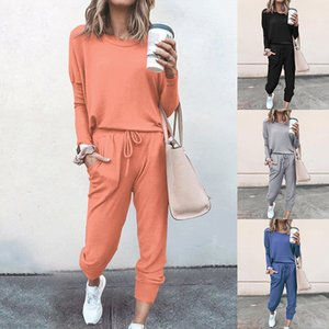 Tracksuits Women Two Piece Pants Set Outfits Solid Color Long Sleeve Trousers Sports Suit Two-Piece Plus Size Clothes w-00380
