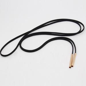 Dichiarazione dei Chokers per le donne nero lungo tubo falso cuoio della corda lunga dell'oro del collare del Choker Collana