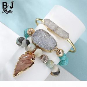 Bojiu 3pcs set Women's Jewelry Laddy's Beaded Bracelet Leaves Pendant With Natural Stone Women's Gift Bcset36 Y19051101