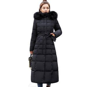 X Long Warm Elegant Fur Collar Women Coat Jacket Casual New Design Pocket Parka Fashion Navy Female Winter Windproof Jacket 2021