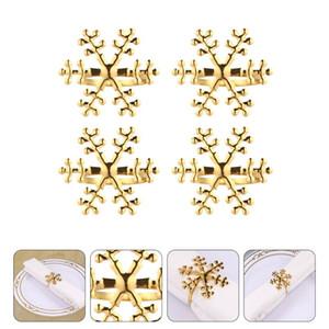 4PCS Reusable Decorative Delicate Durable Lightweight Napkin Ring Napkin Holder Snowflake Wedding Christmas Birthday
