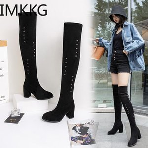 New Shoes Women Boots Black Rivets Over the Knee Boots Sexy Female Autumn Winter lady Thigh High