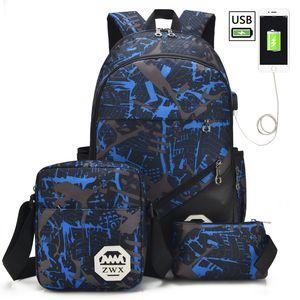 3 Pcs / set Sacos de carregamento USB Livro Backpack High School dos meninos Mochilas Schoolbag para adolescentes Student saco mochila mochila Q1109