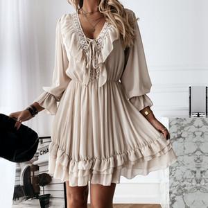 Women Dress 2021 Spring Autumn Sexy Lace Mini Dress Elegant Long Sleeve Ruffle Chiffon Dress Deep V Neck Ladies Clothes Vestidos Q0111