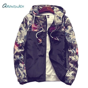 Grandwish Floral Jacket Autumn Mens Hooded Jackets Slim Fit Long Sleeve Homme Trendy Windbreaker Coat Drop Shipping,DA758 201022