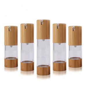 Enviromental Bambusenden Flasche 15ml 30ml 50ml Leere Sprühflasche für Parfümlotion Kosmetische Hautpflege Airless Pump Container