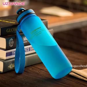 2017 Bouteille d'eau Uzspace 650ml 1000ml Capacité eau potable portable en plastique Sport Protéines Shaker My Drink Bottle Bpa gratuit