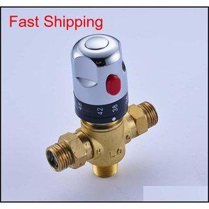 Válvula de control de temperatura de la válvula de mezcla termostática de latón de lujo para piezas de válvula de calentador de agua solar, envasado QYLTF2010