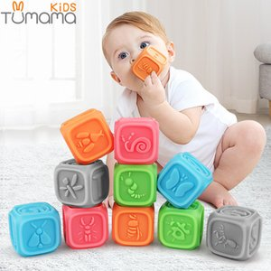TUMAMA 10pcs Baby Blocks Soft Baby Building Blocks for ToddlersTeething Chewing Toys Educational Baby Bath Toys Play with Number LJ201118