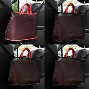 Kareler Katlanabilir Çanta Örgü Kumaş Net Cep Retiküler Çantalar Kızılsıklar Siyah Araba Sandalye Çok Fonksiyonları Katlanabilir 7 5KN L2