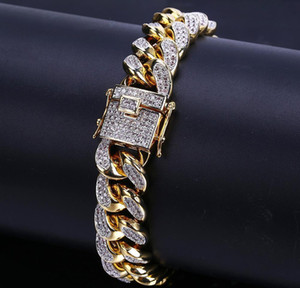 18k Gold White Gold Iced Out Cz Zirconia Miami Cuban Link Chain Bracelet 10 14 18mm Rapper Hip Hop Curb Jewelr wmtWDV bdedome