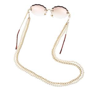 Neuer Ankunfts-All-Purpose-Brillen-Kette mit Hummer-Haken Dual Design Metall und künstliche Perlen Doppel Ketten für Mund-Maske