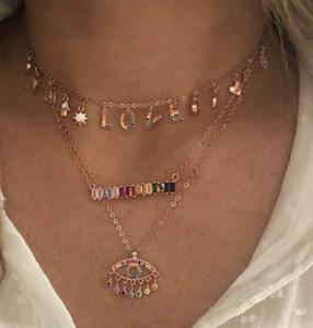 925 Sterling prata amante colar afortunado símbolo gota charme arco-íris l o v e carta encantos personalizados presente dos namorados