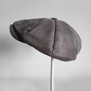 Grado superiore pelle scamosciata dello strillone Caps Mens Grey oversize testa circonferenza coppole donne inglesi Gatsby Cap Autunno Inverno Cappelli BLM114