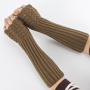 New Autumn and Winter Knitted Half Finger Open Finger Gloves Knitting Wool Gloves Fish Scale Warm Men and Womens Arm Cover
