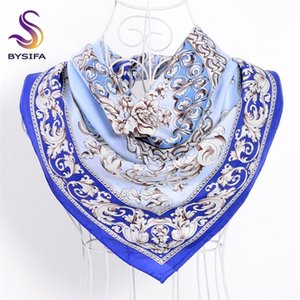 [BYSIFA] Blue White Scarf Ladies Shawl Chinese Style Classic Flowers 100% Silk Twill Square Scarves Wraps For Spring Autumn Y201007