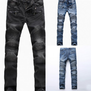 sqJdk s mens denim high quality jeans black ripped jeans fashion motorcycle broken style bike skinny rock revival fashion man s pants