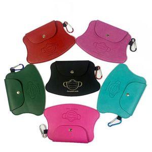 Mask Storage Bag Pu Leather Clip Portable Girls Keyring Holder Protective Masks Organization Dustproof Masks Card Cover Accessories HHA3506
