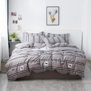 2021New Luxury Bedding Sets Duvet Cover Bed Sheet Pillowcase Brief Stripe Set Full King Queen Twin Size Bedding Set