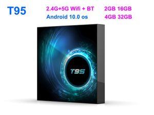 T95 smart tv box android 10 4k 6k 4g 32gb 2.4g & 5g Wifi Bluetooth 5.0 Quad core set-top box 2G 16G media Player