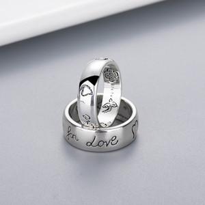 Anillo de patrón de la flor de las mujeres de la muchacha de las mujeres con el sello, para el regalo del anillo de la letra del amor para el amor pareja de la joyería de alta calidad