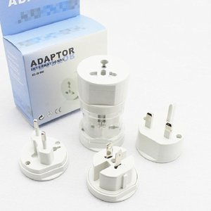 All In One Universal Travel AC Power Plug Adapter Socket Converter for US UK EU AU 110V 220V with Retail Box White