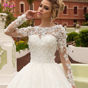 New charming pocket gown wedding dress series 2019 luxurious Round Neck Lace Princess Dress Gown