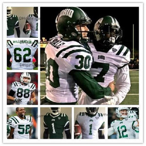 Custom Ohio Bobcats # 62 Marcellis Williamson Javon Hagan # 12 Nathan Rourke White Green College Футбол сшитые мужские изделия