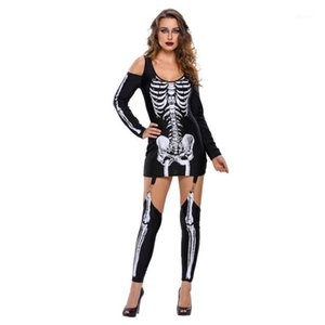 Ysmarket 2017 Ladies Signore Punk X-rayed Halloween Off-spalla Skeleton Costumi per le donne Cosplay Donne Carnival Party Dress V8902501