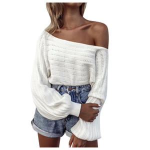 Women's Sexy V Neck Oversized Off Shoulder Jumper Hollow Soft Warm Knitted Sweater Open Front Blouse Tops Long Sleeve Knitwear