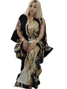 2021 African Print Dashiki Dress Bat Sleeve Abaya Hijab Loose Muslim Bazin Design Long Maxi Robe Gowns African Dress