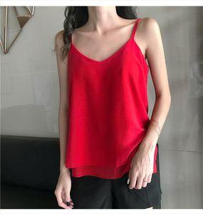 Size S 4XL Summer Women Chiffon Camisole Tops Female Polyester Tanks Sleeveless Basic Solid T shirts 8920