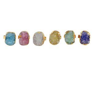 Драгоценный камень Кристалл Кольца Druzy Кварцевый Женщины Камнеобрабатывающие кольца Green Rose необработанный камень Женские винтажные обручальные кольца