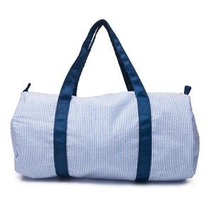 18*9.5inch Seersucker Weekender Bag Wholesale Blanks Navy Stripes Duffle Totes toddler Travel Bag DOM1061097