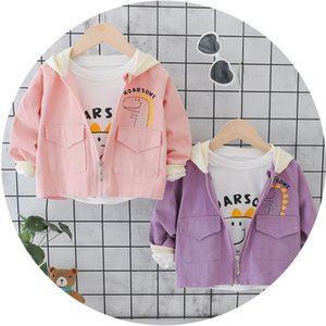2020 Childrens Trench Coat Korean-Style Baby Coat Small Dinosaur Pattern Cute Childrens One to Be Sent