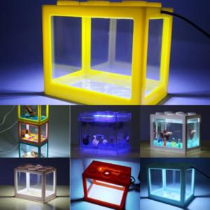 Negg5 nueva decoración artificial brillante descuento peces tanque de peces lego bloques efecto medusas acuario nadar pez viva paisaje bajo el agua luz