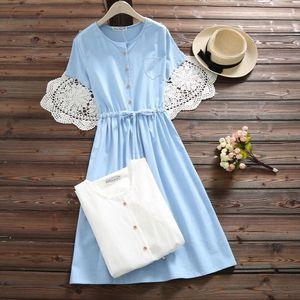 Mori Solid Girl Summer Women Cute Dress O Neck Cotton Linen Female Vestidos Short Sleeve White Blue Robe String Dress S 2xl