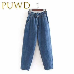 PUWD 2019 Otoño Nuevo Negro Pure Black Cintura Alta Jeans Pantalones Lápices sueltos1