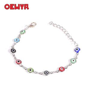 Sliver Turkish Eyes Bracelet For Woman Boho Rainbow Bracelet Handmade Evil eye Adjustable Men's Love Gift Wholesale
