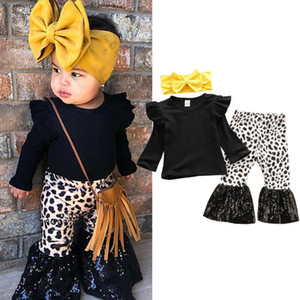 New Fall Autumn 3pcs Toddler Kids Baby Girl Black Clothes Ruffle Tops Flared Sequin Pants Spring Set Outfits 201031