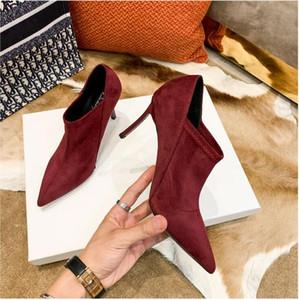 2020 les femmes les plus vendus talons hautes bottes filles bureau dame automne occasionnels cuir doux bout pointu chaussures de mode taille de vin noir 40 41 # P34
