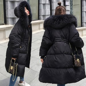Tunic red black gray white puffy jacket with draw string,fur hooded parka coat winter long warm bomber women down quilted electric jacket