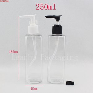 250 ml transparent square cosmetic packaging with liquid soap dispenser , Pump bottles for shampoo lotions 250cc 250ggood qualtit