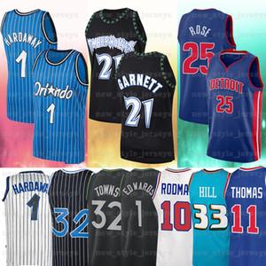 33 Grant 25 Derrick 11 Isiah Rose 1 Tracy 1 Tim 10 Dennis Kevin Hardoway Garnett Rodman McGrady Thomas Hill Basketball Jersey