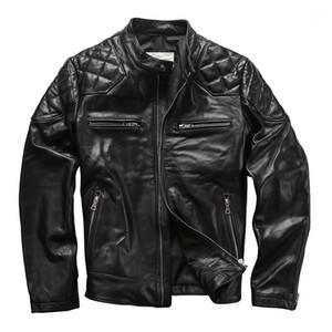 Seveyfan 2020 Мужчины подлинной кожаной куртки кожаной кожи черный тонкий мотоцикл байкер настоящая кожаная куртка для мужчин R33531